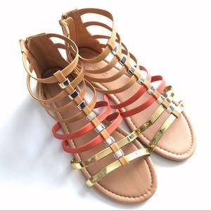 Gold, Tan, & Orange Gladiator Sandals